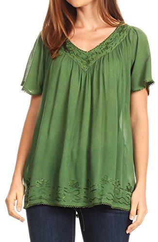 Sakkas Emma Crinkle V-Ausschnitt Kurzarm Top Bluse mit Stickerei und Paillette Grüne Erbse