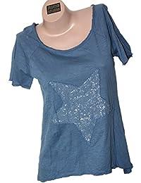 ITALY - Star Kurzarm-Shirt Longshirt mit Stern-Motiv Pailletten Used Look One Size 36-40