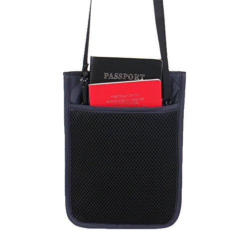 Genda 2Archer Nylon Reise Sicherheit Nackentasche RFID Blocking Versteckte Tasche für Pässe Handys Kreditkarten ID und Cash (Lila) Grau