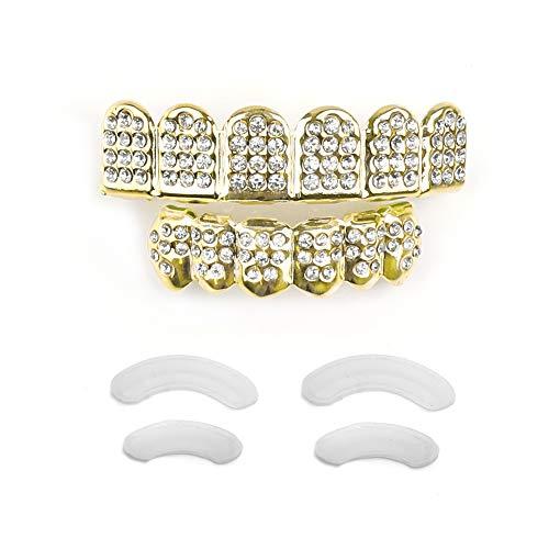 TSANLY Jungen Gold Grillz zähne Set New Custom fit 14k plaqué diamanten Grillz - alle Typen von teeth-6pcs top und Bottom Grill Set hip hop Bling Grillz für + mikrofasertuch Gold