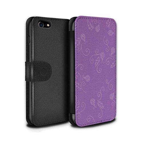 Stuff4 Coque/Etui/Housse Cuir PU Case/Cover pour Apple iPhone 8 / Gris Design / Motif Coccinelle Collection Pourpre