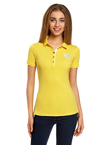 oodji Collection Damen Poloshirt mit Metallknöpfen und Stickerei, Gelb, DE 42/EU 44/XL (Art-damen-gelb T-shirt)