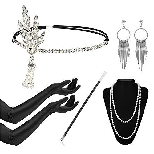Timelike 1920s Damen Accessoires Set Halskette Handschuhe Zigarettenhalter Stirnband 20er Jahre 1920s Charleston Gatsby Retro Stil Kostüm Ball (1920's Vintage Kostüm Schmuck)