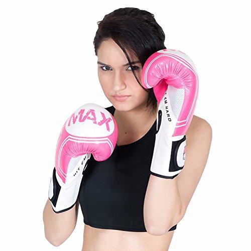 MAXSTRENGTH Boxhandschuhe, 10 oz, 12 oz, Sparring, Boxsack Training Kickboxen und Muay Thai Kunstleder-Geräte Rosa rose 340,2 g (12 oz)