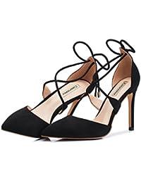 Li Ye Feng Shop Sommer sexy High Heels fein mit schwarzem Wildleder High Heels flacher Mund Singles Sandale Cross...