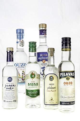 OUZO Probier Set 6x 200ml Ouzo aus Griechenland Tresterbrand ✔ Jivaeri ✔ Pilavas ✔ Plomari ✔ Mini Mytilini ✔ Loukatos Meltemi griechischer Trester Anis Schnaps Geschenk