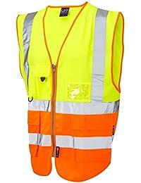 - Leo chaleco alta visibilidad XXXL XXXXL XXXXXL de seguridad reflectante con braguette con botones para hombre amarillo/naranja