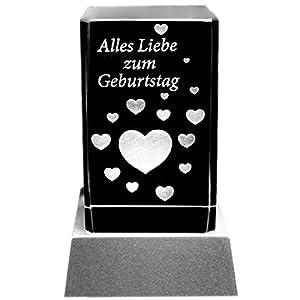 Kaltner Präsente Stimmungslicht - Das perfekte Geschenk: LED Kerze / Kristall Glasblock / 3D-Laser-Gravur Herzen ALLES LIEBE ZUM GEBURTSTAG