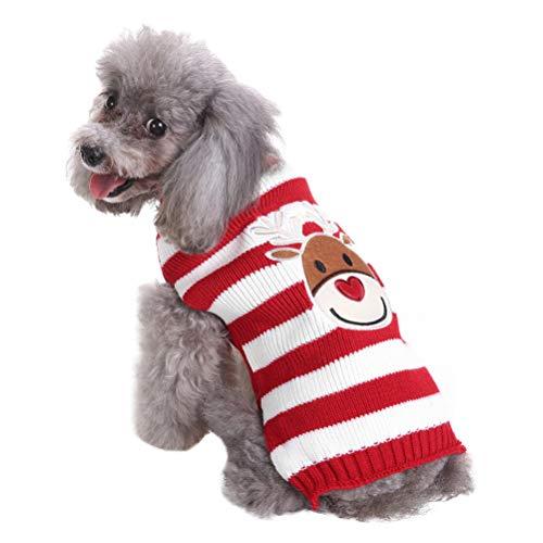 POPETPOP Weihnachten Hund Kostüm - lustige Elch gedruckt gestreiften warmen Pullover für Hunde und Katzen - süße Rollkragen Haustier Strickpullover - Hund Winterkleidung (Größe (Lustige Hunde Und Besitzer Kostüm)