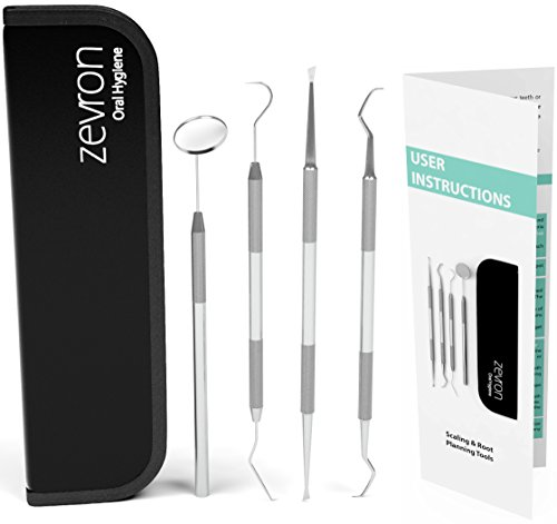 essential dental hygiene kit for home use - calculus & plaque remover set - tartar scraper - scaler instrument, tooth pick, mouth mirror - deep teeth cleaning tools to maintain high oral care - used by dentists - comes with 1 year warranty by zevron - 41jmo3henEL - Essential Dental Hygiene Kit For Home Use – Calculus & Plaque Remover Set – Tartar Scraper – Scaler Instrument, Tooth Pick, Mouth Mirror – Deep Teeth Cleaning Tools to Maintain High Oral Care – Used by Dentists – Comes With 1 Year Warranty by ZEVRON