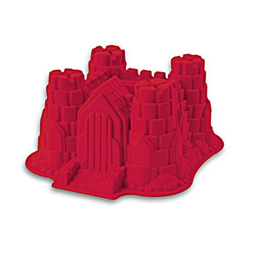 Silikon-Form, Modell: Ritterburg / Schloss, geeignet zum Backen von Kuchen und zur Zubereitung von Eis oder Götterspeise. Eine tolle Überraschung für Partys und Geburtstage. (Farbe rot)