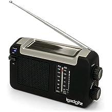 igadgitz Xtra Radio Portátil AM/FM Dinamo Manivela, Solar y USB Recargable con 3 Años de Garantía