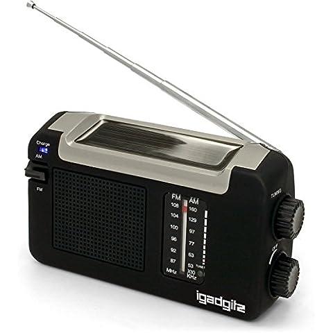 igadgitz Xtra Radio Portátil AM/FM Dinamo Manivela, Solar y USB Recargable con 3 Años de