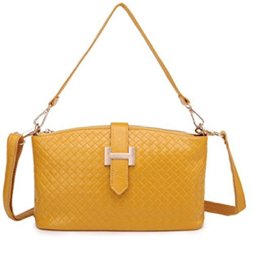 Borsa In Pelle Modello Di Tessuto Borsa A Tracolla MEI Signora Messenger Bag,Rosered yellow