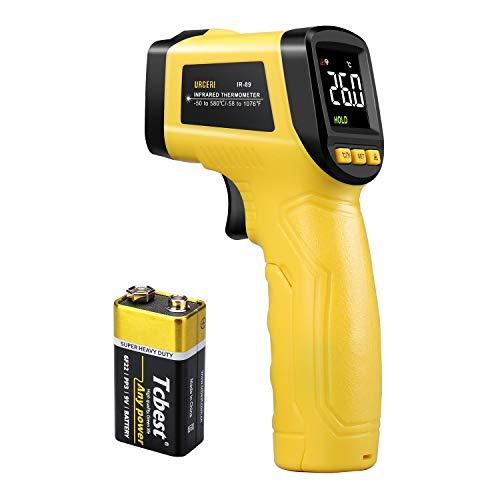 URCERI Termometro Infrarossi -50℃-580℃/-58℉-1076℉ Pistola Temperatura Digitale Senza Contatto con Tester di umidità, LCD Schermo, Batteria Inclusa