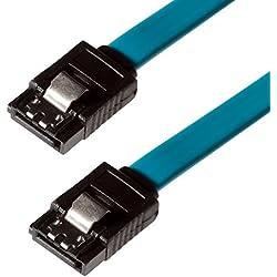 Poppstar 1x S-ATA 3 HDD SSD Datenkabel (0,5 m, 2x Stecker gerade) (bis zu 6 Gbit/s), Sata Kabel für DVD, BlueRay, Festplatte, Motherboard, PC Case Modding uvm., blau
