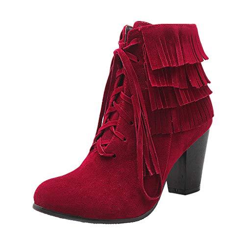 feiXIANG Damen Booties Schnürstiefeletten Round Toe Quaste Freizeitschuhe Frauen Mädchen High Heels Schuhe Herbst Winter(Rot,39) -