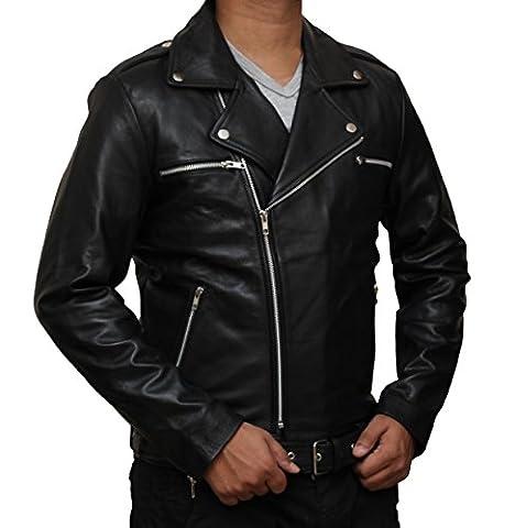 Negan Leather Jacket - Black Walking Dead Jacket Replica (M, Black)