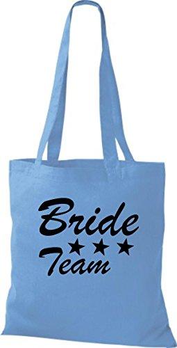 Shirtstown Stoffbeutel JGA Bride Team viele Farben hellblau