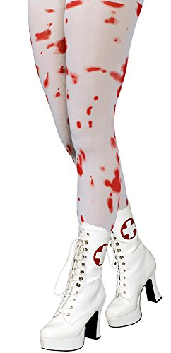 Strumpfhose Blutige Krankenschwester Weiß Rot Gr. L XL - Tolles Accessoire für Halloween oder Karneval Kostüme (Krankenschwestern Kostüme Accessoires)