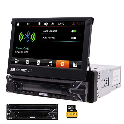 gle Din In-Schlag Auto-DVD-CD-Player 7-Zoll-Retractable Touch Screen Auto-Monitor-Player GPS-NAV Autoradio Bluetooth FM/AM USB/SD AUX Drahtlose Fernbedienung inklusiv ()