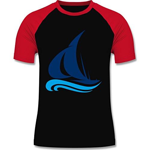 Schiffe - Segelboot - zweifarbiges Baseballshirt für Männer Schwarz/Rot