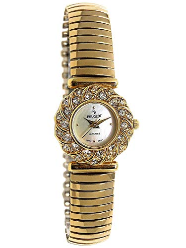 Peugeot Women 14Kt Gold Plated Crystal Bezel Watch with Soft Expansion Bracelet
