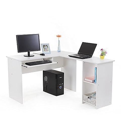 Songmics Computertisch Bürotisch Schreibtisch weiß PC Tisch Computerschreibtisch Große Desktop Design 3 Regale 140 x 120 x 75 cm