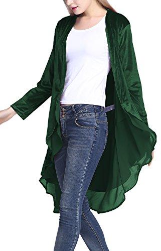 Urbancoco Damen Lange Trench Blazer Mantel Chiffon Hem Cape Cardigan Windbreaker (XL, Grün)