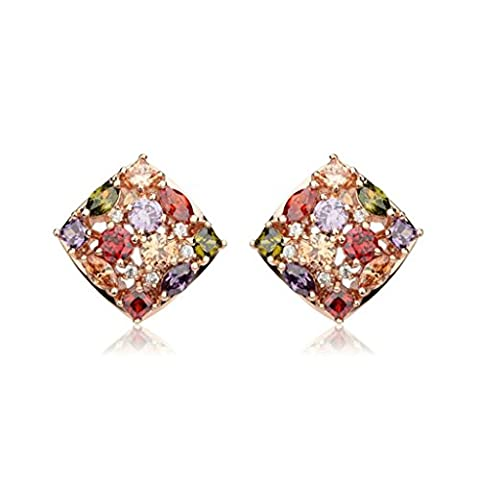 Beydodo Rose Gold Plated Earrings Studs Womens Earrings Diamond Multi Colors Cubic Ziconia Square Shape Post With French Clip