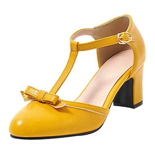 Coolulu Damen T Strap Pumps Blockabsatz Riemchen Pumps mit Schleife Rockabilly Frühling Sommer Schuhe (Gelb,39) Ankle Strap T-strap-pumps