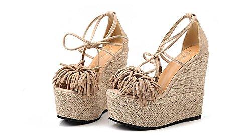 LvYuan Frauen Sommer Sandalen   Sexy Ultra High Heel   Wasserdichte  Plattform   Stroh Flechten   4eac7a6052