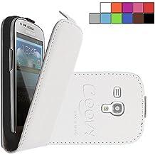 COOVY® COVER CASE CUBIERTA DELGADO FUNDA PROTECTORA CON TAPA PARA Samsung Galaxy S3 MINI GT-i8200 GT-i8190 GT-i8195 con lámina projoectora de pantalla color blanco