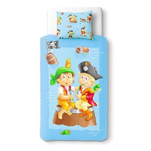 Baby pirates party (pirati) - soulbedroom 100% cotone biancheria per culle e lettini bambino (copripiumino 110x150 cm & 1 federa 40x60 cm)