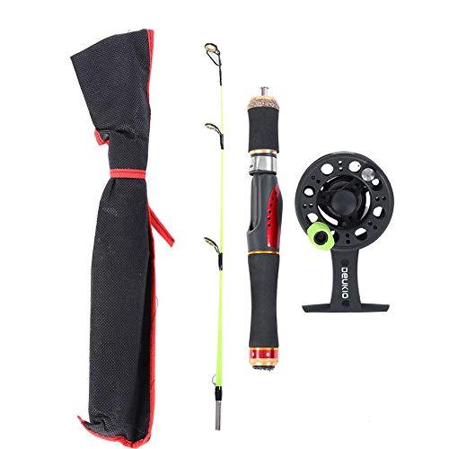 Alomejor Angelrute und Reel Set Portable Lightweight Durable für das Winter-Eisfischen(55cm-Grün)