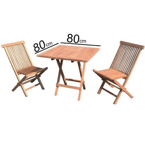 Linder Teakholz Balkon Set 3tlg. 1 Klapptisch, 2 Klappstühle, 75% maschinengefertigt, 25% Handarbeit, ofengetrocknet, aus nachhaltig bewirtschafteten Plantagenbau