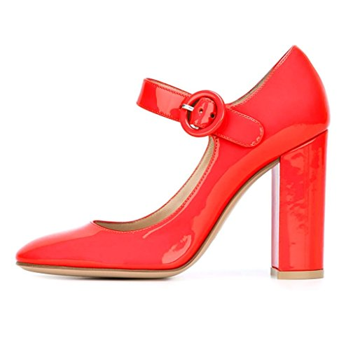 EDEFS Escarpins Femme Bride Cheville Boucle Bout Rond Mary Janes Chaussures Pompes a Talon de Mariee Mariage Rouge