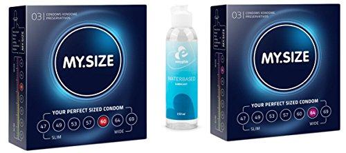 VisitBuy Sparbox My.Size Kondome - 2er Probierset (je 3x 60, 64 mm) inklusive 100 ml Gleitgel, 3 Stück