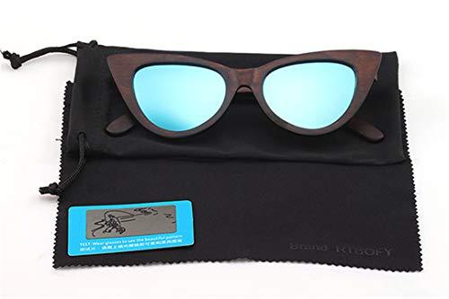 DAIYSNAFDN Holz Sonnenbrille Frauen Polarisierte Linse Cat Eye Brille Bambus Brillen Brillen Shades Uv400 C1
