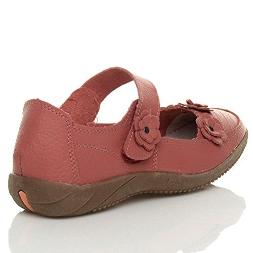 Femmes plat velcro babies fleur marche confort chaussures cuir pointure Corail rouge