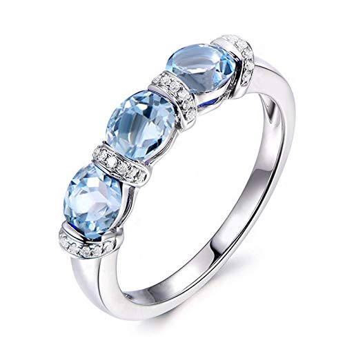 SonMo 925 Silber Ringe Trauringe Verlobungsring Paarringe Silber S Stein Solitäre Ring Hellblau Topas Ovalschliff Damen Ring Zirkonia 60 (19.1)
