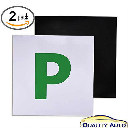 Price comparison product image Fully Magnetic P Plates for New Drivers 2 Pack Quality Auto by Vorfreude® L Learner Plate,  P Probationary,  N Novice No sticky sticker residue pk2 P