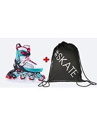 SET - SPOKEY® ROADI Inline Skates + ULTRAPOWER® Beutelrucksack | Größenverstellbar | Kinder | Damen | Herren | Inliner | Inline Blades | Aluminium Schiene | ABEC 5 Karbon | Größen 33-36 / 37-40 / 40-43
