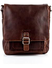 STOKED Umhängetasche Leder Nathan groß Messenger Bag Herren Schultertasche echte Ledertasche Herrentasche