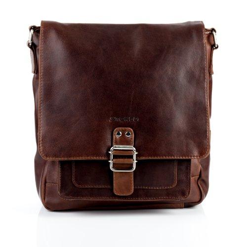 STOKED Borsa a tracolla NATHAN - Borsa in cuoio con manico a spalla grande adatto tablet - iPad - borsa a spalla vera pelle marroncina (28 x 30 x 8 cm) marroncina