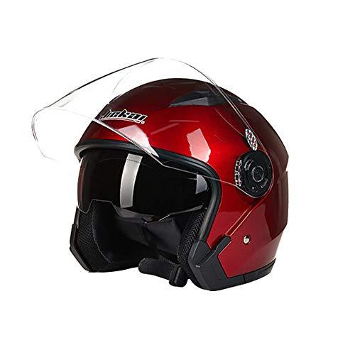 Folconauto Casco de Moto Scooter, Casco de Moto de Cara Abierta Jet Crash - Rojo (XL)