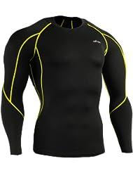 emFraa Homme Femme Sport Compression Black Base layer Tee-Shirt Longsleeve S~2XL
