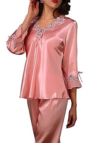Aivtalk Elégant Ensemble de Pyjama Satin 2 Pièce T-shirt à Manche Longues + Pantalons Lingerie Vêtement de Nuit Bordé Dentelle Col-V Chemise de nuit - Rose XL