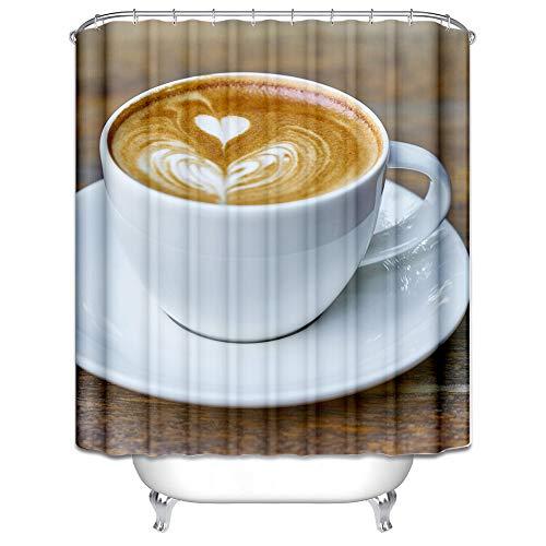 AieniD Polyester Badezimmer Deko Blau Schimmelbeweis Wasserdicht Duschvorhang Farbe Herzförmige Cappuccino Muster Größe:120X180CM