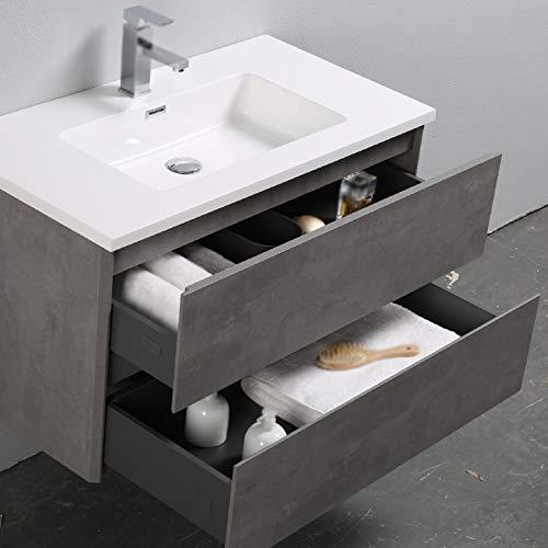 Sanitona A-90 Waschplatz Waschbecken Vormontiert Badmöbel in Betongrau, 90cm breit